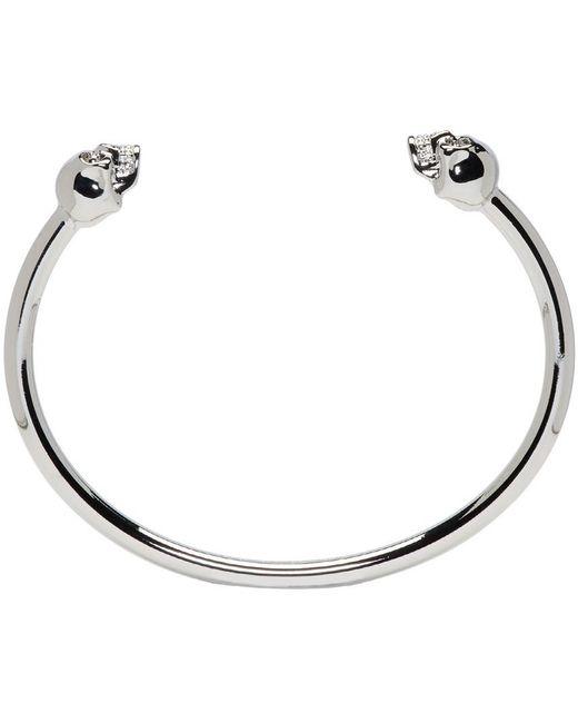 Alexander McQueen | Metallic Silver Thin Twin Skull Bracelet | Lyst
