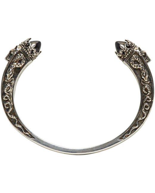 Alexander McQueen | Metallic Silver Twin Skull & Snake Bracelet | Lyst