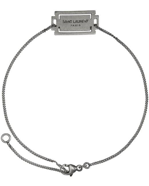 Saint Laurent | Metallic Silver Razor Logo Bracelet for Men | Lyst