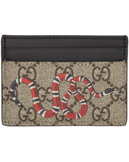 156fc10ed7bc Gucci Card Wallet Snake. Gucci Beige Snake Gg Supreme Card Holder in Natural  ...