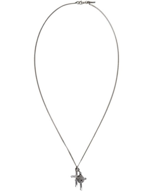 Emanuele Bicocchi | Metallic Silver Double Cross Necklace for Men | Lyst