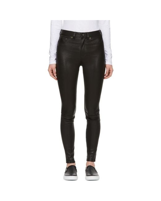 Rag & Bone   Black High-rise Leather Pants   Lyst