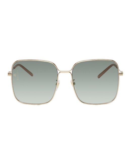 d0621af9ab Gucci - Metallic Gold Oversized Square Sunglasses - Lyst ...