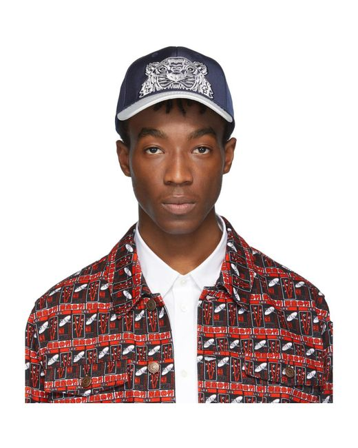 KENZO - Blue Navy And White Limited Edition Canvas Tiger Cap for Men - Lyst