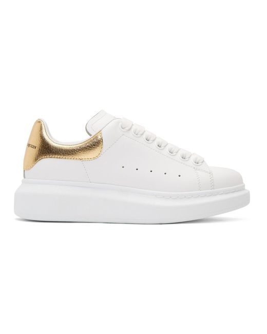 Alexander McQueen - White And Gold Metallic Oversized Sneakers - Lyst