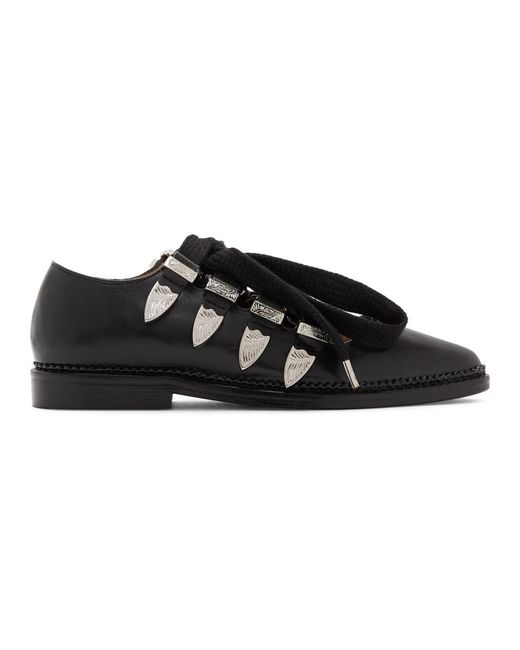 Toga Pulla - Black Lace-up Ballerina Oxfords - Lyst