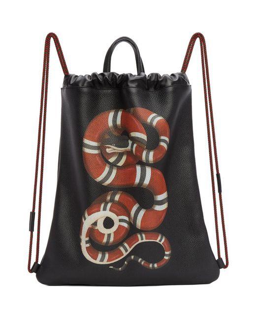Gucci - Black Snake Drawstring Backpack for Men - Lyst