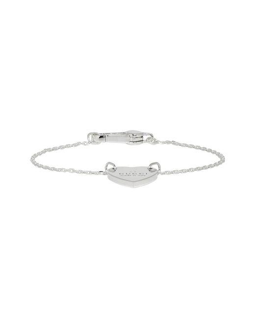 Gucci - Metallic Silver Heart Logo Bracelet - Lyst