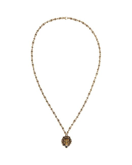 Gucci | Metallic Gold Lion Head Necklace for Men | Lyst