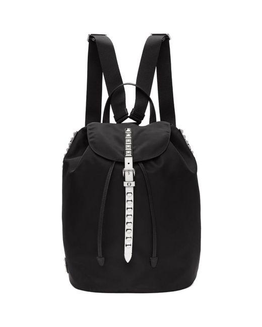 Prada - Black And White Studded New Vela Backpack - Lyst