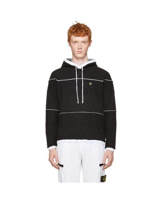 Telfar - Black Panelled Hoodie for Men - Lyst