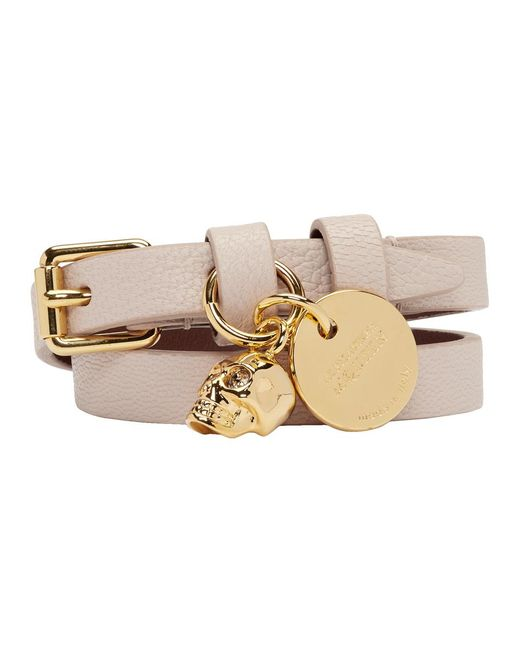 Alexander McQueen - Pink Leather Double Wrap Bracelet - Lyst