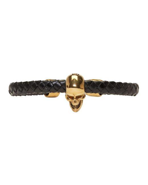 Alexander McQueen - Metallic Black And Gold Braided Leather Skull Bracelet for Men - Lyst