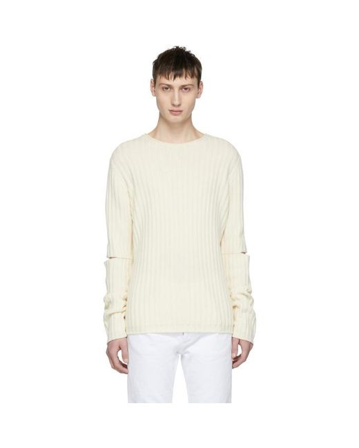 Helmut Lang | Off-white Re-edition Elbow Cut Out Sweater for Men | Lyst