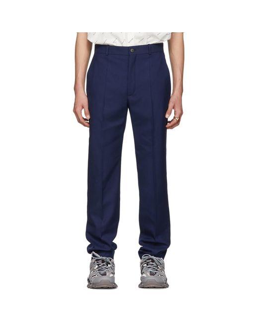 Balenciaga - Blue ブルー ウール ツイル トラウザーズ for Men - Lyst