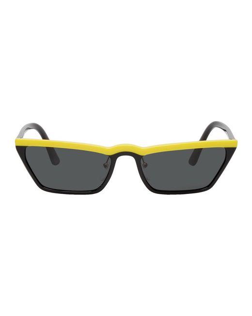Prada - Black And Yellow Micro Cat-eye Sunglasses - Lyst