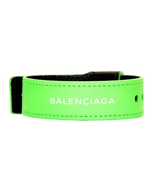 Balenciaga - Green Leather Party Bracelet for Men - Lyst