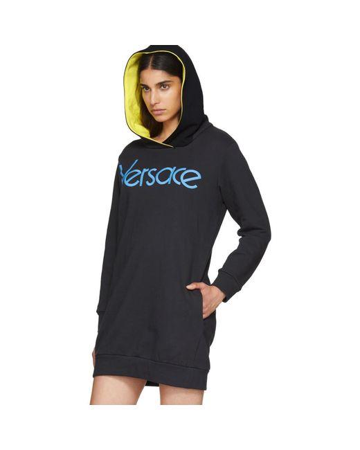 Navy Embroidered Logo Hoodie Dress Versace wGKF6D6uV