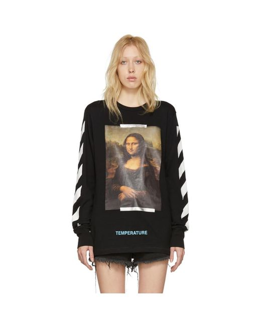 Off-White c/o Virgil Abloh - Black And White Diagonal Monalisa T-shirt - Lyst