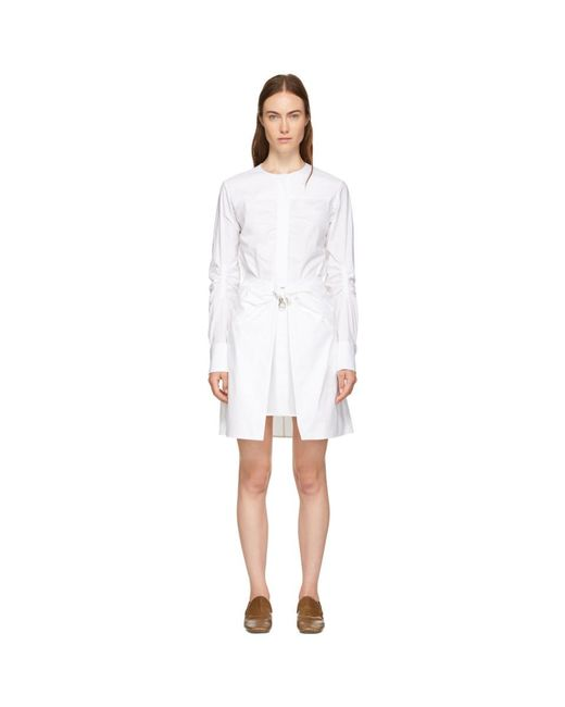 Carven - White Poplin Belted Wrap Dress - Lyst