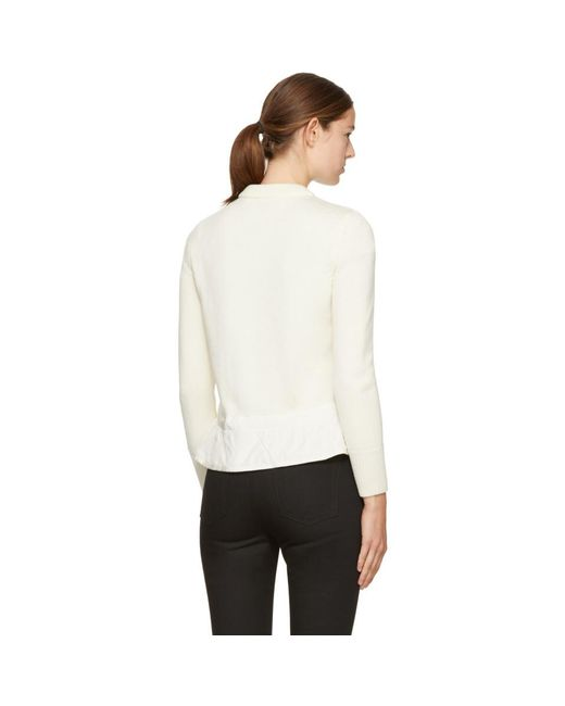 ... Moncler - Off-white Down Knit Peplum Jacket - Lyst ...