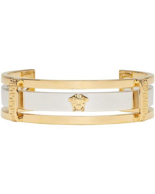 Versace | Metallic Gold & Silver Small Medusa Cuff for Men | Lyst