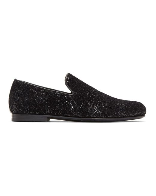 Jimmy Choo - Black Velvet Glitter Devore Sloane Loafers for Men - Lyst