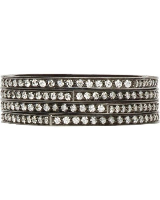 Repossi | Metallic Black Gold & Diamond Pavé Four-band Antifer Ring | Lyst