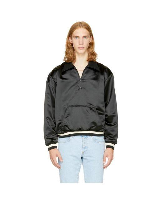 Fear Of God | Black Satin Half-zip Coaches Jacket | Lyst