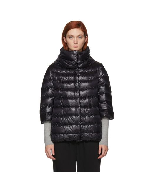 Herno - Black 3/4 Sleeve Cocoon Quilted Puffer Coat - Lyst