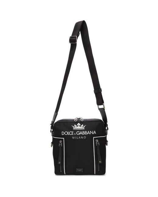 Dolce & Gabbana - Black Logo Messenger Bag for Men - Lyst