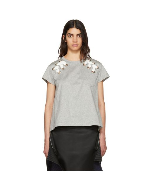 Sacai - Gray Grey Lace-up T-shirt - Lyst