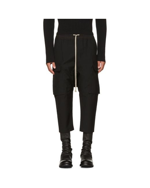 Rick Owens   Black Wool Drawstring Cropped Cargo Pants for Men   Lyst