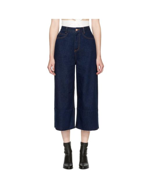 SJYP - Blue Wide Cut Jeans - Lyst