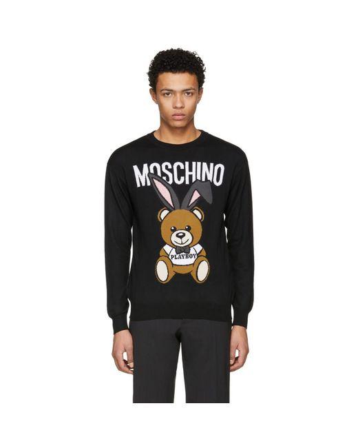 Moschino - Black Playboy Teddy Bear Sweater for Men - Lyst