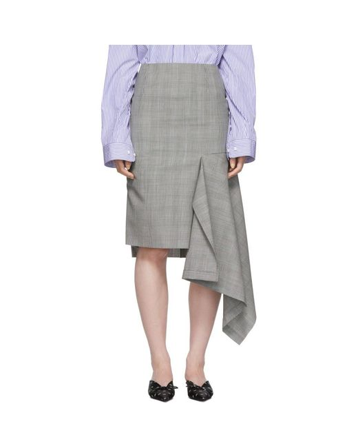 Balenciaga - Black And White Godet Prince Of Wales Check Skirt - Lyst