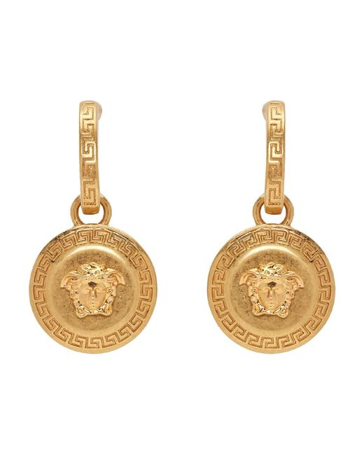 Versace Metallic Gold Medusa Tribute Pendant Earrings