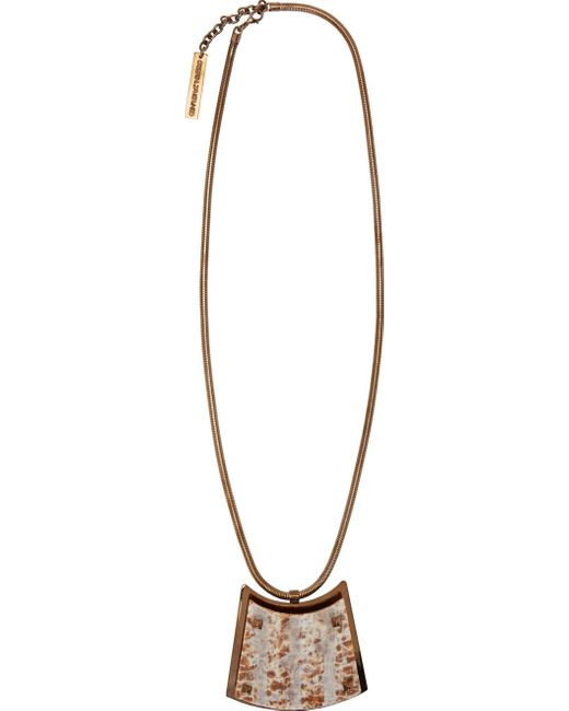 Caterina Zangrando | Pink Marbled Resin & Brass Necklace | Lyst
