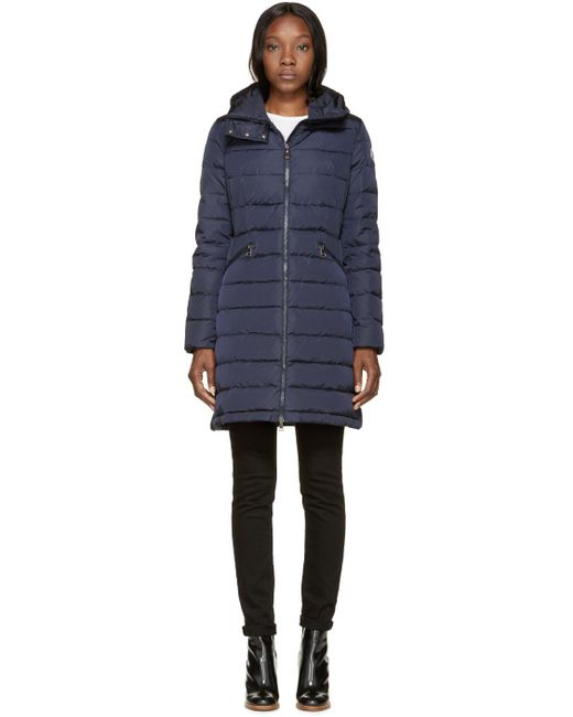 Moncler | Blue Navy Down Flammette Coat | Lyst