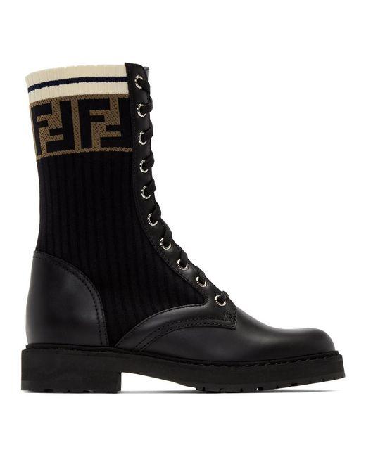 Bottes militaires noires Rockoko Fendi en coloris Black