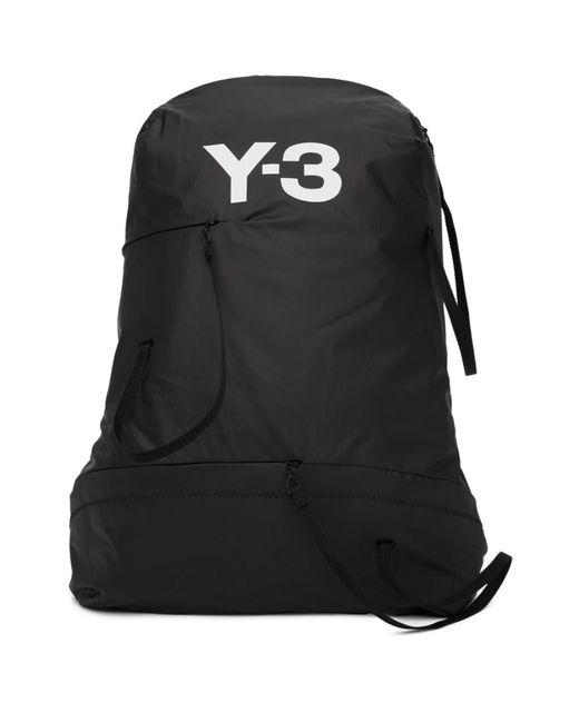 Lyst - Y-3 Black Logo Bungee Backpack in Black for Men 0e6aa38b59711