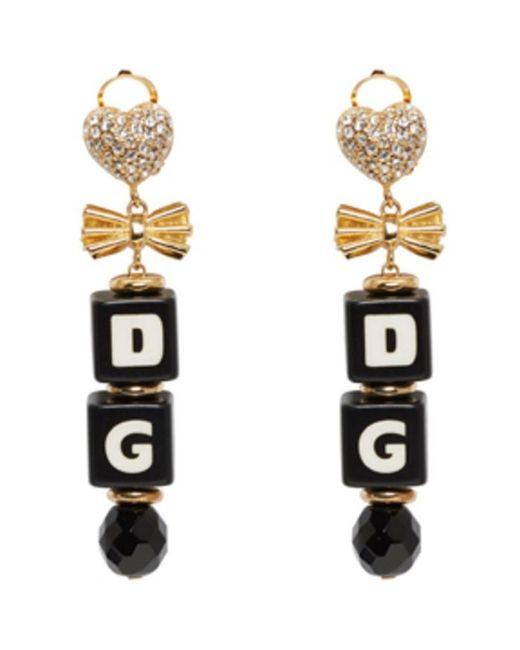 Dolce & Gabbana | Black & Gold Dice Clip-on Earrings | Lyst