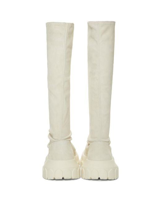 White Stretch Hiking Sock Sneakers Rick Owens 33WZhSb
