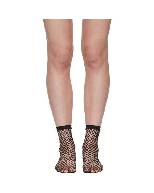 Wolford | Black Fishnet Short Socks | Lyst