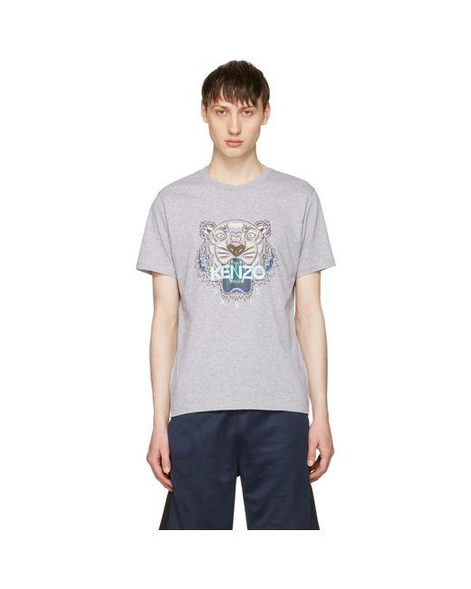 KENZO - Gray Grey Tiger T-shirt for Men - Lyst
