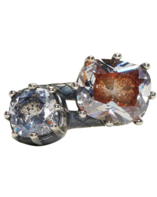 Bottega Veneta | Metallic Gunmetal Double Cubic Zircon Ring | Lyst