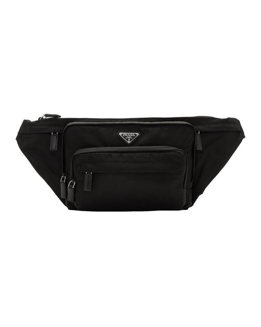 Prada - Black Small Nylon Logo Fanny Pack for Men - Lyst