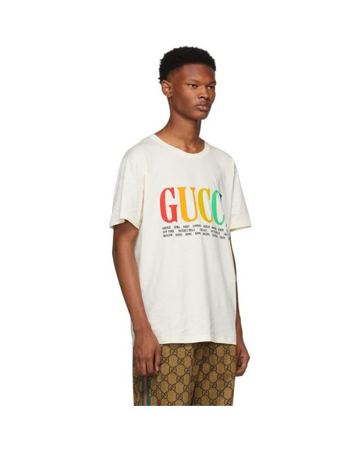 dae61ff2 ... Gucci - White Cities T-shirt for Men - Lyst ...