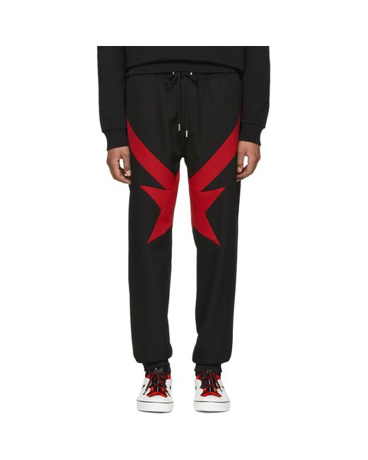 Givenchy - Black And Red Stripes And Stars Trousers for Men - Lyst