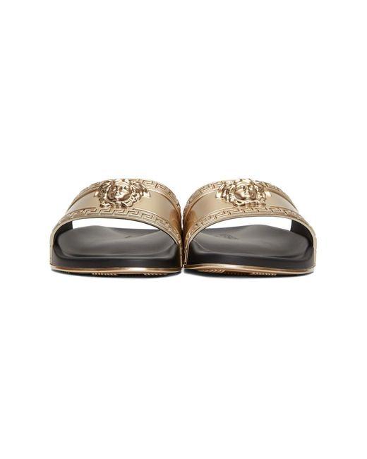 b877d33f3096 ... Versace - Metallic Gold-tone Medusa Embossed Slides for Men - Lyst ...